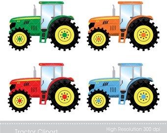 Digital Clipart - Tractor Clipart, Instant download,  printable, only FOR PERSONAL USE