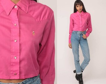 Western Shirt 70s Crop Top Hot Pink Pearl Snap COWBOY Blouse Paper Thin Cotton Long Sleeve 1970s Vintage Bohemian Button Up Small Medium