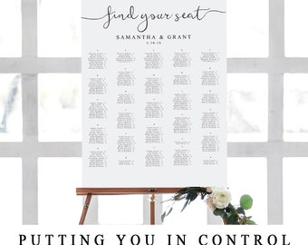 Alphabetized Seating Chart Template, Wedding Guests Seating Plan, Wedding Seating Chart Sign, Printable Alphabetical Seating Poster, The One