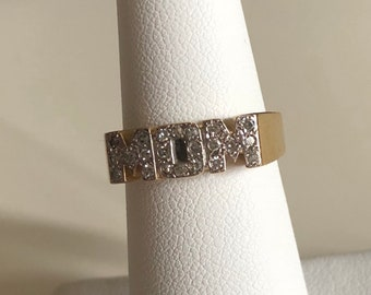 "10K gold diamond ""MOM"" ring"