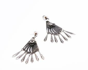 Chandelier Earrings, Floral Earrings, Flowers Earrings, Dangle Earrings, Boho Earrings, Statement Earrings, Bohemian Earrings, Silver