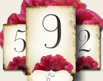 PINK POPPY, Wedding Table Number, 5x7, Printable, Weddings, Parties, Bridal Shower, Baby Shower, Seating Numbers, wedding decoration