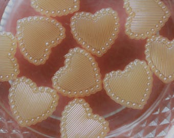 set of 2 peach apricot cabochon scrapbooking hearts