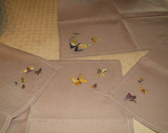 """4 place mats hand sewn and embroidered by the old """"butterflies"""""""
