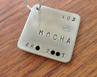 Large hand stamped dog tag