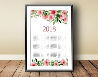2018 Calendar, Digital download, instant download, printable 2018, 2018 annual calendar, floral print art, watercolor print art, 2018 print