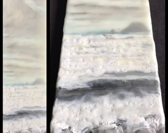 sitting on the rocks - coast 12.5x3.5 - original encaustic painting peaceful, impressionist, landscape, sea, waves, clouds, beach