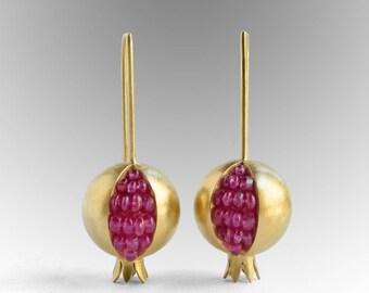 Pomegranate Earrings - 18K Gold Pink Sapphire Earrings - Pomegranate Gold Earrings - pomegranate jewelry - Pink Gemstone Artisan Earrings