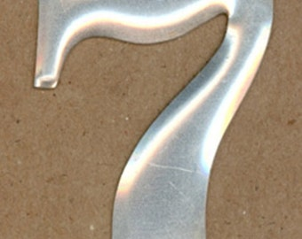CLEARANCE SALE Vintage Metal Number, Number 7, Letterpress Style Telephone Pole Numbers, 2 inch, Aluminum Numbers, Silvertone, Brushed Metal