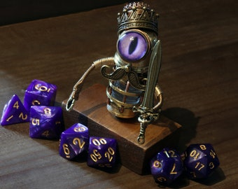 Steampunk King Minion Robot Sculpture with purple eye, mustache, crown with tanzanite dragons breath stone, sword, tools and set of DnD dice