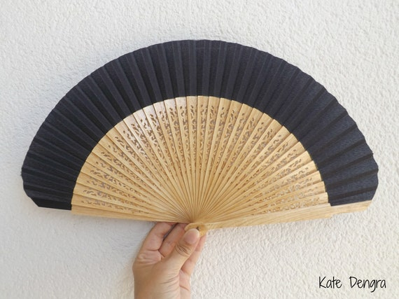 Std Fret Navy Natural Wooden Hand Fan