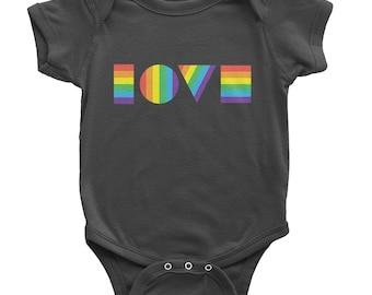 Ready to Ship - LGBTQ Love Onesie | Pride Onesie | Rainbow Onesie | Pride Shirt | Rainbow Baby Clothes | Organic Baby Clothes | LGBT Baby