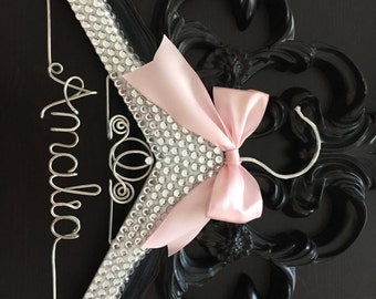 BLING Kids Hanger, Cinderella Children's Personalized Hanger, Baby Shower Gift, Flower Girl Hanger, Flower Girl Gift, Disney Princess Hanger