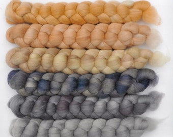 Hand dyed roving -  Silk / Merino wool 20/80% spinning fiber - 6.4 ounces - Silversmith