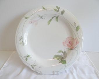 "Sango Sculpture Rose Round 12"" Serving Plate Platter - Sculpture Rose 1051 - Pink Rose Plate - Serving Platter - Serving Plate - Japan"