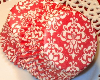 Red Damask Cupcake Liners  (45 Qty)  Red Damask Baking Cups, Red Damask Muffin Cups, Red Cupcake Liners, Red Baking Cups, Red Muffin Cups