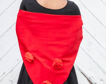 Red Shawl Three Red Roses Dewdrop Romantic Triangle Wrap Shawl