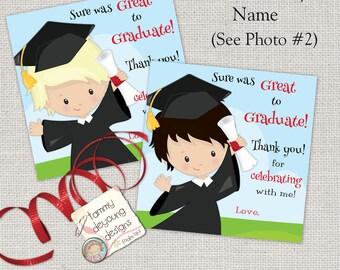 Boys Graduation Tags, Digital Graduation Thank You Card, Kids Custom Graduation Sticker, 4 inch Treat Bag Label, Preschool Kindergarten Grad