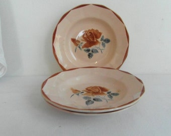 3 French vintage soup bowls dishes French vintage 30s French dinnerware French country decor French porcelain . : french porcelain dinnerware - pezcame.com