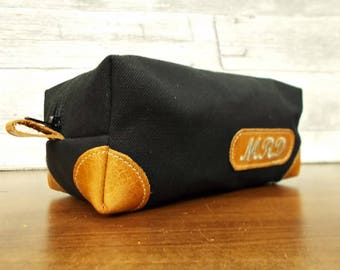Monogrammed, Personalized dopp kit, Shaving bag, Dopp kit, Toiletry bag, Groomsmen gift, Mens toiletry, Travel bag, Black, Waxed canvas