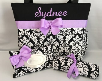 Personalized DAMASK Diaper Bag SET ... Wipe Cover ... Changing Pad