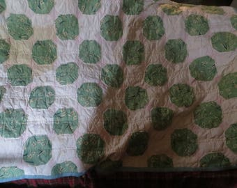 vintage cotton   antique handmade quilt/  bedding   66 x 48