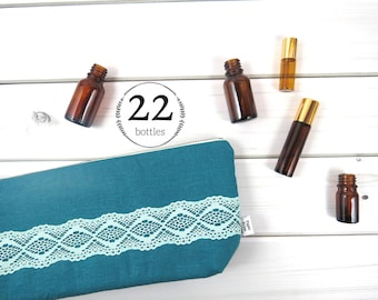 Large Essential Oil Bag, Essential Oil Case  - ZOE in Deep Lake - 22 bottles - linen and lace zipper pouch essential oil storage oils