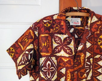 Vintage 1960s Barefoot Paradise Sterling Mossman Hawaiian Shirt, Made in Hawaii Brown, Rust, Mustard Yellow, White