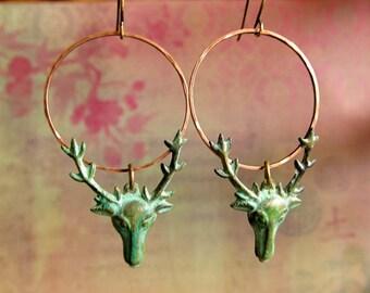 Patina earrings - Deer earrings- dangle drop earrings - Stag Patina Indie hipster jewelry