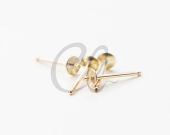 4 Pieces of 14K Gold Filled Earring Post -  3mm Pad with 10mm Length (BS8210)*D