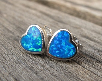Blue Opal Heart Shaped Silver Stud Earring- Boho Iridescent Opal Stud Earring- October Birthstone Stud