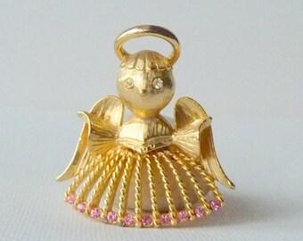 Vintage Angel Brooch Vintage Brooch Pink Rhinestone Brushed Gold Tone Angel Pinn, Retro  Brooch, Angel Costume Jewelry, Collectible Angel