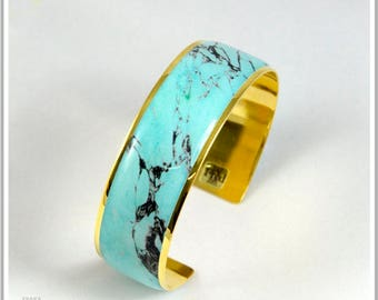 2 cm 24 k gold plated Cuff Bracelet marble turquoise Alicia