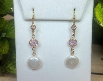Swarovski Crystal Pink & Coin Pearl Earrings