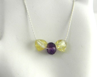 """Golden Rutilated Quartz and Amethyst Minimalist Understated Chic 17"""" Sterling Delicate Silver necklace."""