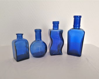 french vintage set of 4 cobalt blue glass apothecary bottles