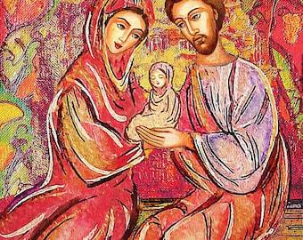Holy Family, Virgin Mary Jesus, mother child, religious painting, Christian folk art, mother son, feminine decor print 8x10+