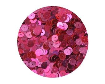 Sequins 5mm Flat Fluorescent Hot Pink Metallic