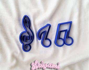 Musical notes fondant cutters, musical note cutter, music theme fondant cutters, musical clef fondant cutter for cakes