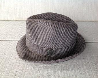 Vintage custom made Bee Hats, Mid Century Fedora 6 7/8 small, Vintage Mens Tweed Fedora, Beige, blue, red Tweed, 1950's 1960's men's Hat