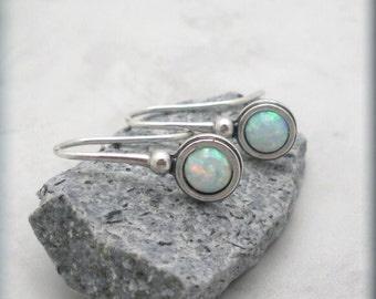 Opal Earrings Dangle Gemstone October Birthstone Sterling Silver Jewelry