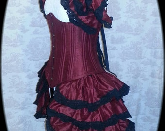 Steampunk Bustle  Silk Tie On Bustle Skirt  and shrug SET Lolita Victorian Gothic Wedding  CLARET By Ophelias Folly