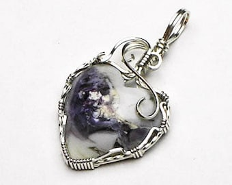 Tiffany Stone Heart Shaped Cabochon Swirls and Curls Argentium Sterling Silver Wire Pendant