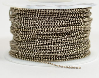 1mm Ball Chain - Antique Silver - CH131 - Choose Your Length
