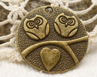 Two Owls on a Branch Charm Pendant, Antique Bronze (6)