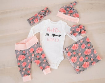 Baby Girl Coming Home Outfit: CHOOSE COMBO Pink Hello, World Bodysuit, Floral Print Shorties Shorts or Legging Pants, Headband