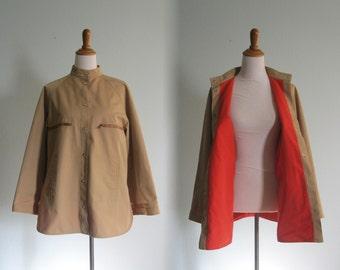 Bonnie Cashin Jacket - Chic 70s Bonnie Cashin Coat in Tan and Orange - Vintage Beige Jacket - Vintage 1970s Jacket L XL