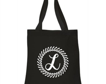 Initial with frame - High Quality Heavy Canvas Tote Bag