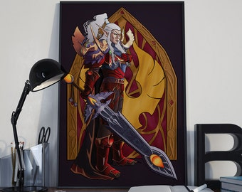 For the Good of My People - Print - Lor'themar Theron World of Warcraft Blood Elf Horde Art Nouveau