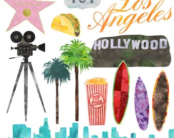 Los Angeles Hollywood Clip Art, Watercolor LA Clip Art American Cities, Commercial Use